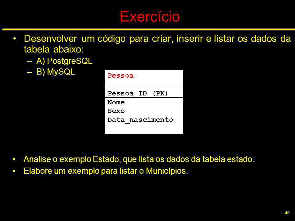 40 Exercício Desenvolver um código para criar, inserir e listar os dados da tabela abaixo: –A) PostgreSQL –B) MySQL Analise o exemplo Estado, que list