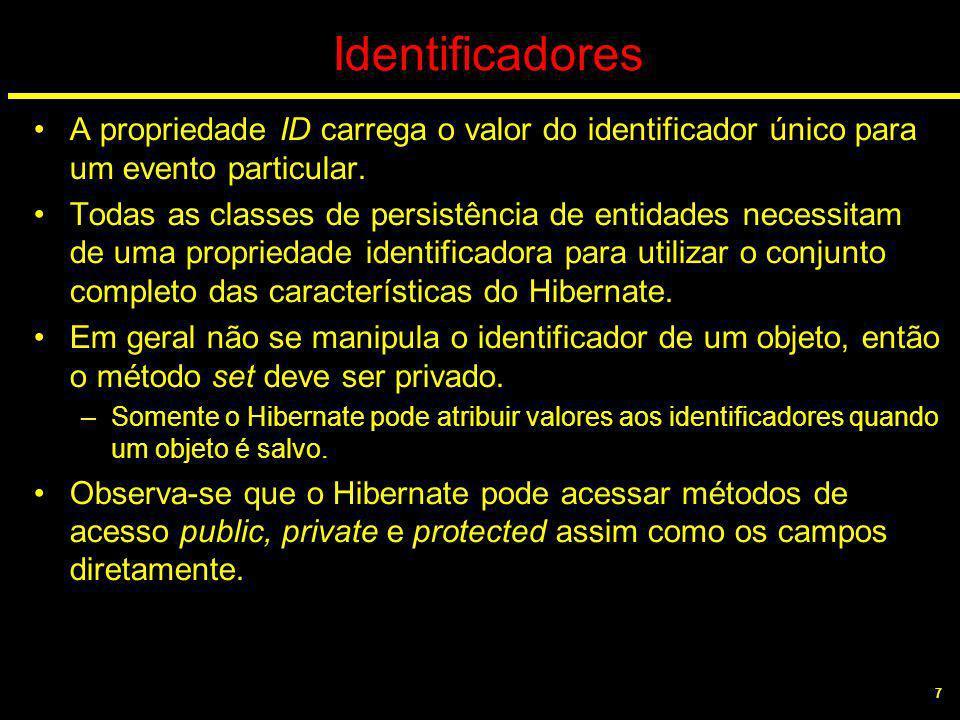 7 Identificadores A propriedade ID carrega o valor do identificador único para um evento particular. Todas as classes de persistência de entidades nec