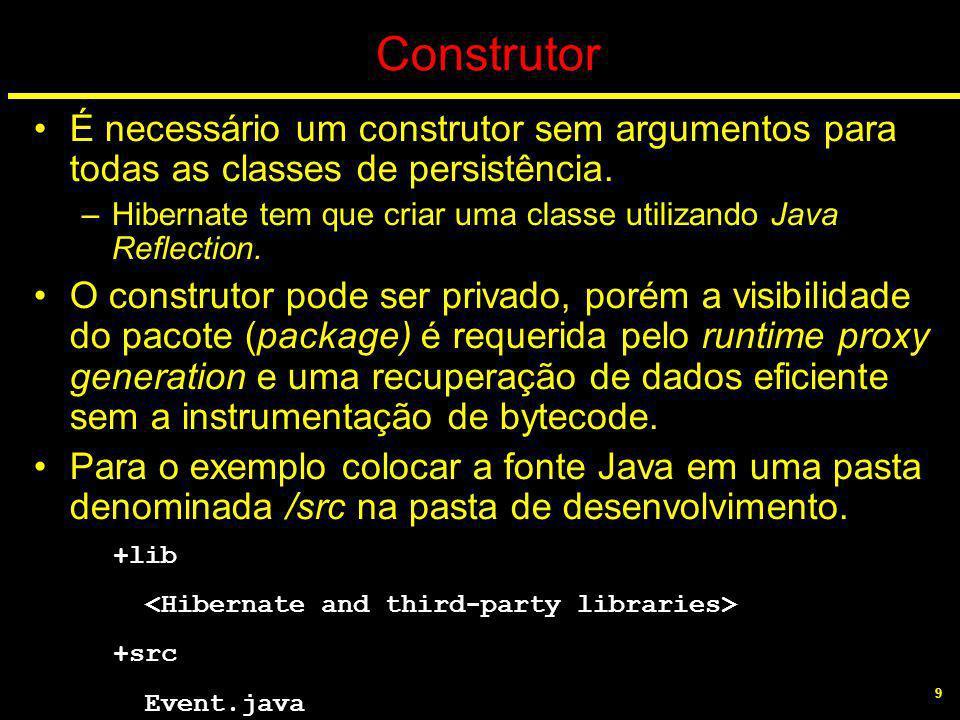 9 Construtor É necessário um construtor sem argumentos para todas as classes de persistência. –Hibernate tem que criar uma classe utilizando Java Refl