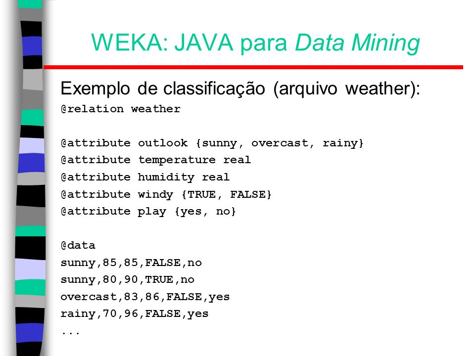WEKA: JAVA para Data Mining Exemplo de classificação (arquivo weather): @relation weather @attribute outlook {sunny, overcast, rainy} @attribute tempe