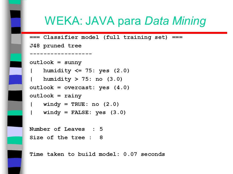 WEKA: JAVA para Data Mining === Classifier model (full training set) === J48 pruned tree ------------------ outlook = sunny | humidity <= 75: yes (2.0