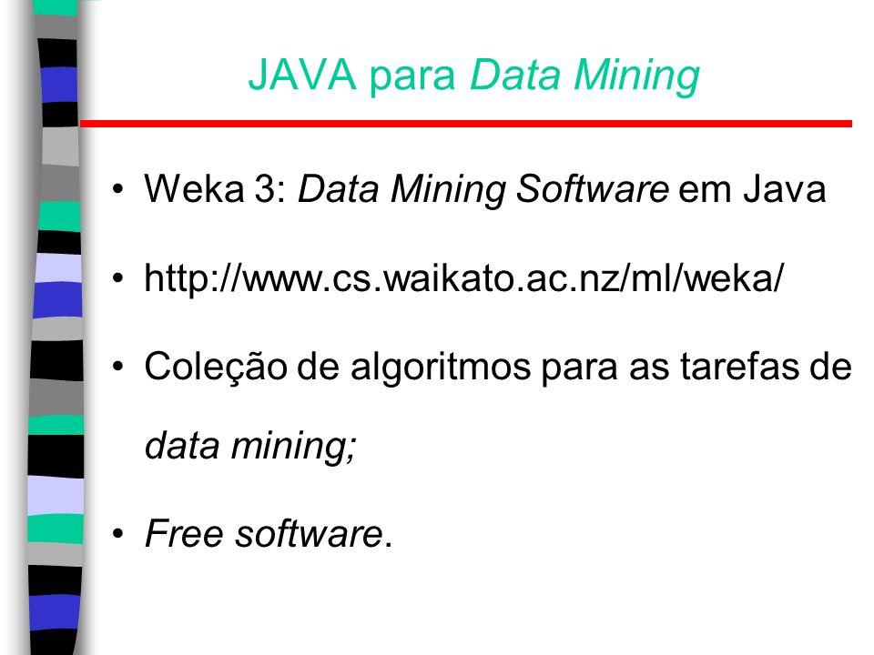 JAVA para Data Mining Weka 3: Data Mining Software em Java http://www.cs.waikato.ac.nz/ml/weka/ Coleção de algoritmos para as tarefas de data mining;