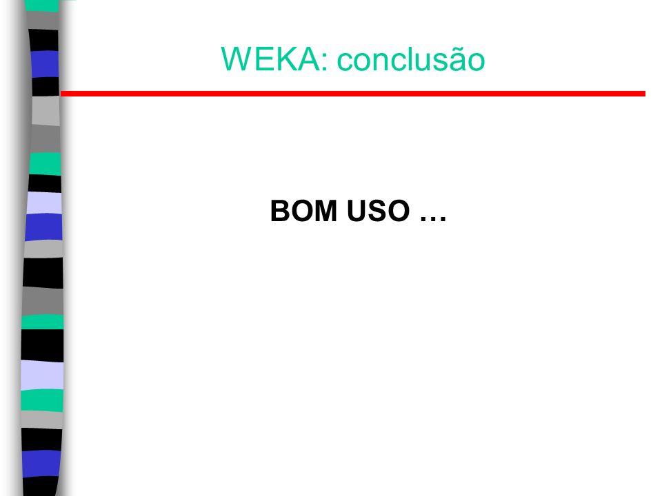 WEKA: conclusão BOM USO …