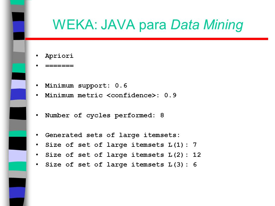 WEKA: JAVA para Data Mining Apriori ======= Minimum support: 0.6 Minimum metric : 0.9 Number of cycles performed: 8 Generated sets of large itemsets: