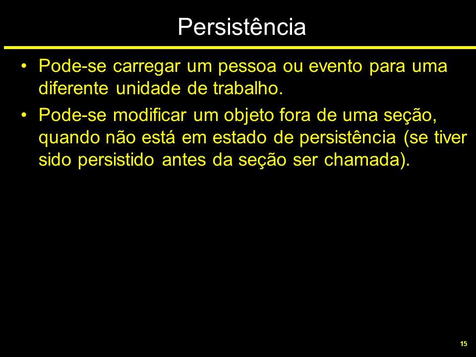 15 Persistência Pode-se carregar um pessoa ou evento para uma diferente unidade de trabalho. Pode-se modificar um objeto fora de uma seção, quando não
