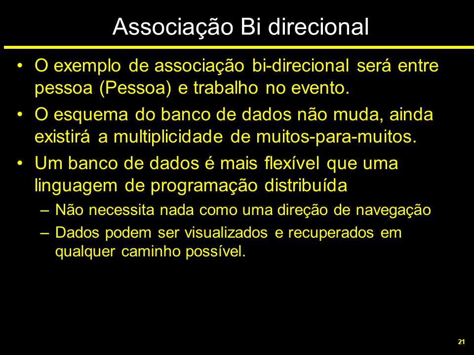 21 Associação Bi direcional O exemplo de associação bi-direcional será entre pessoa (Pessoa) e trabalho no evento. O esquema do banco de dados não mud