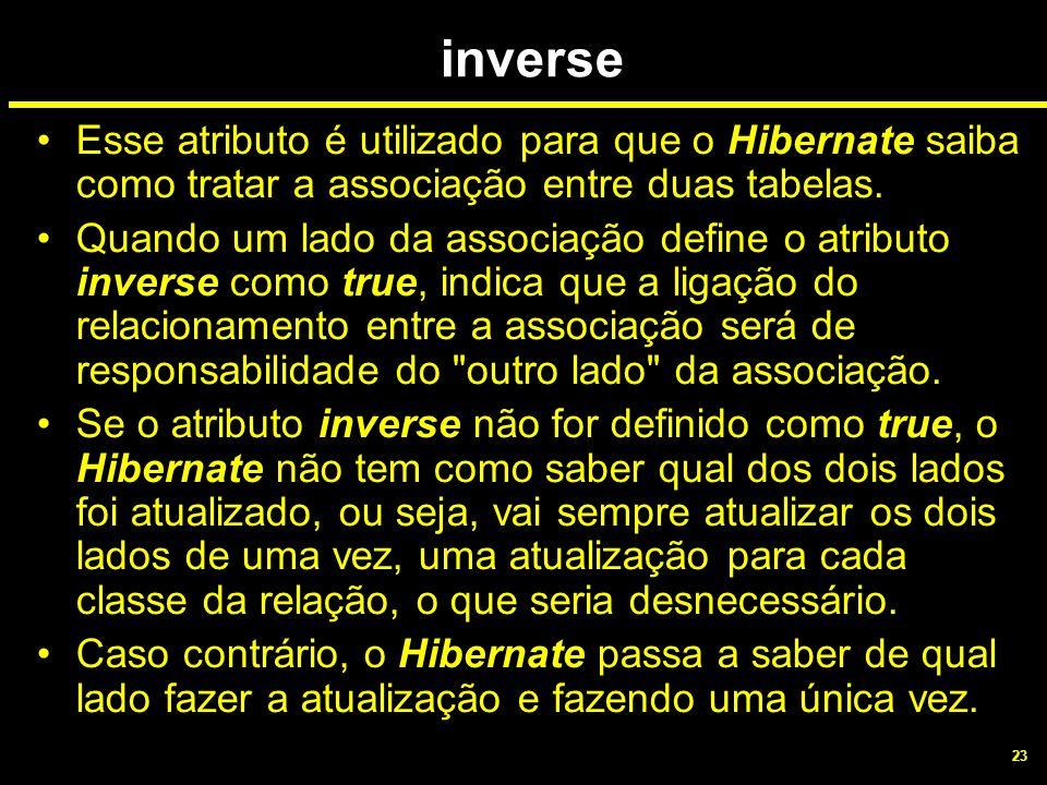 23 inverse Esse atributo é utilizado para que o Hibernate saiba como tratar a associação entre duas tabelas. Quando um lado da associação define o atr