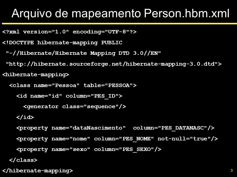 3 Arquivo de mapeamento Person.hbm.xml <!DOCTYPE hibernate-mapping PUBLIC