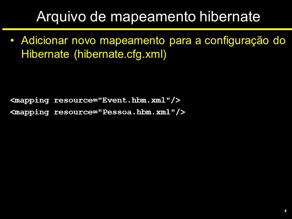 4 Arquivo de mapeamento hibernate Adicionar novo mapeamento para a configuração do Hibernate (hibernate.cfg.xml)