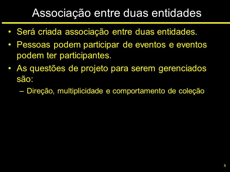5 Associação entre duas entidades Será criada associação entre duas entidades. Pessoas podem participar de eventos e eventos podem ter participantes.