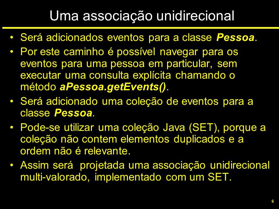 6 Uma associação unidirecional Será adicionados eventos para a classe Pessoa. Por este caminho é possível navegar para os eventos para uma pessoa em p