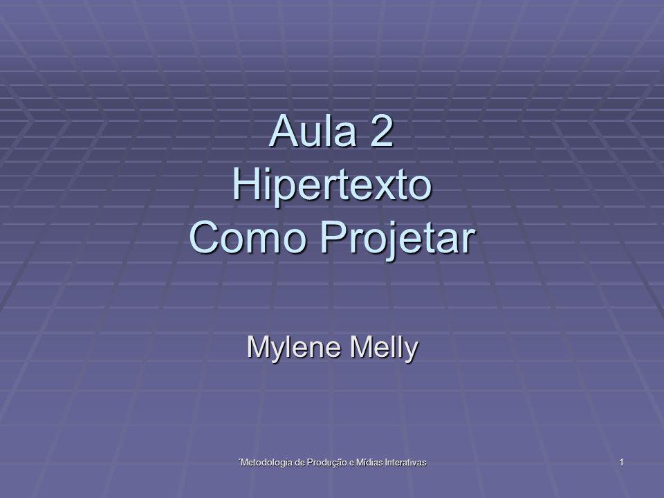 Aula 2Metodologia de Produção de Mídias Interativas2 Aula 2 História e Evolução do Hipertexto História e Evolução do Hipertexto Como Projetar Como Projetar Referências Referências