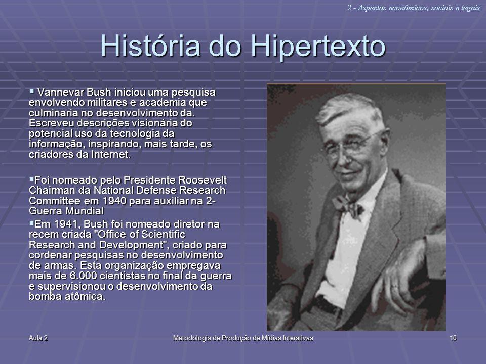Aula 2Metodologia de Produção de Mídias Interativas10 História do Hipertexto Vannevar Bush iniciou uma pesquisa envolvendo militares e academia que cu