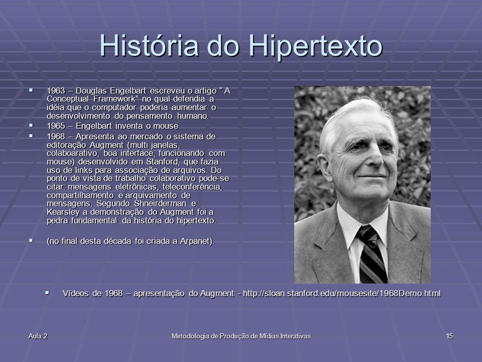 Aula 2Metodologia de Produção de Mídias Interativas15 História do Hipertexto 1963 – Douglas Engelbart escreveu o artigo A Conceptual Framework no qual