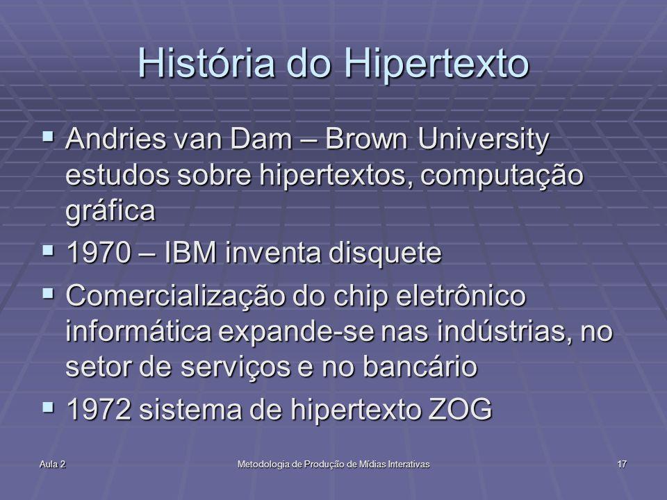 Aula 2Metodologia de Produção de Mídias Interativas17 História do Hipertexto Andries van Dam – Brown University estudos sobre hipertextos, computação