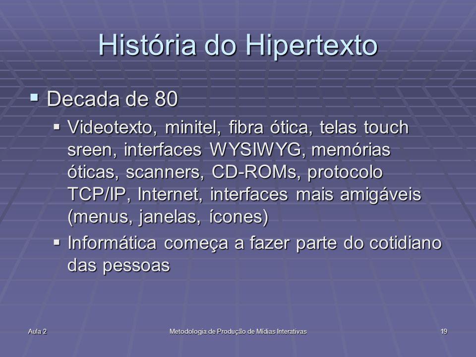 Aula 2Metodologia de Produção de Mídias Interativas19 História do Hipertexto Decada de 80 Decada de 80 Videotexto, minitel, fibra ótica, telas touch s