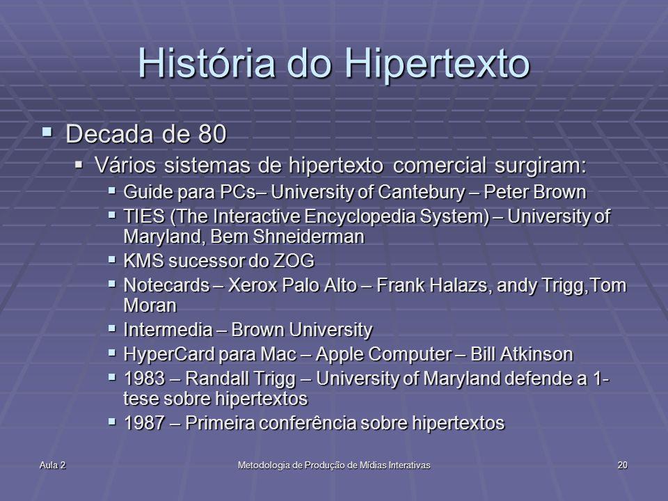 Aula 2Metodologia de Produção de Mídias Interativas20 História do Hipertexto Decada de 80 Decada de 80 Vários sistemas de hipertexto comercial surgira