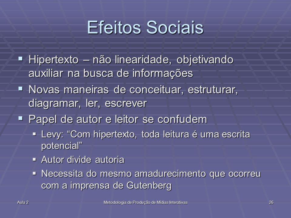 Aula 2Metodologia de Produção de Mídias Interativas26 Efeitos Sociais Hipertexto – não linearidade, objetivando auxiliar na busca de informações Hiper