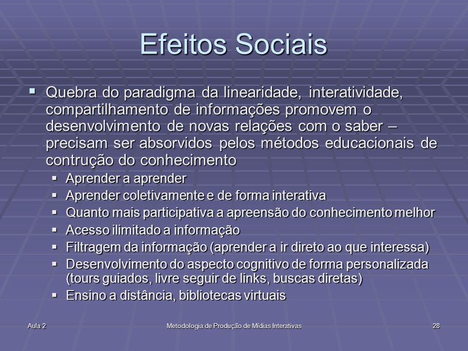 Aula 2Metodologia de Produção de Mídias Interativas28 Efeitos Sociais Quebra do paradigma da linearidade, interatividade, compartilhamento de informaç