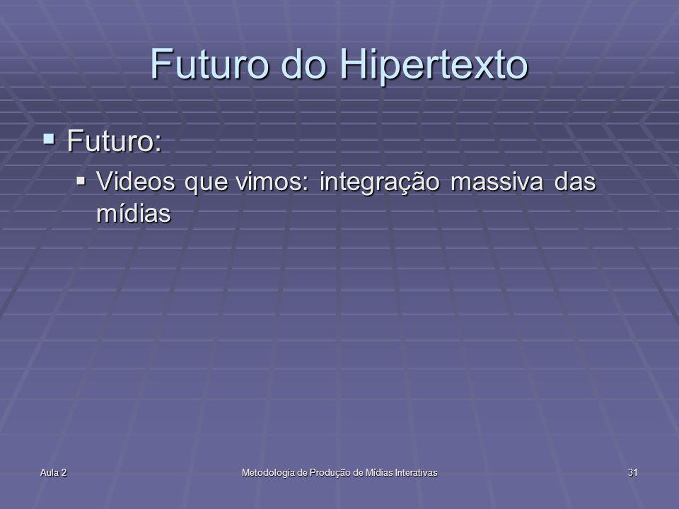 Aula 2Metodologia de Produção de Mídias Interativas31 Futuro do Hipertexto Futuro: Futuro: Videos que vimos: integração massiva das mídias Videos que