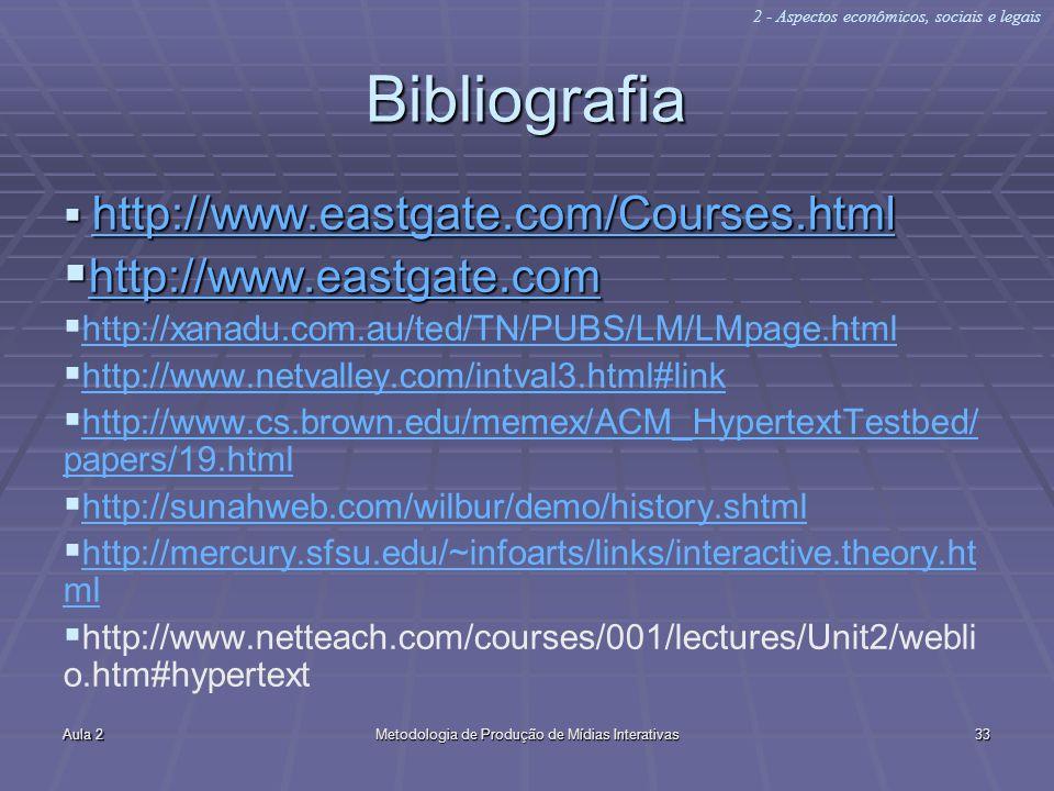 Aula 2Metodologia de Produção de Mídias Interativas33 Bibliografia http://www.eastgate.com/Courses.html http://www.eastgate.com/Courses.html http://ww