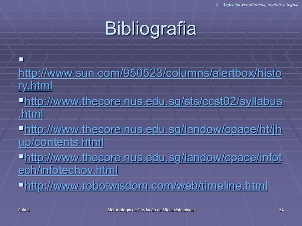 Aula 2Metodologia de Produção de Mídias Interativas34 Bibliografia http://www.sun.com/950523/columns/alertbox/histo ry.html http://www.sun.com/950523/