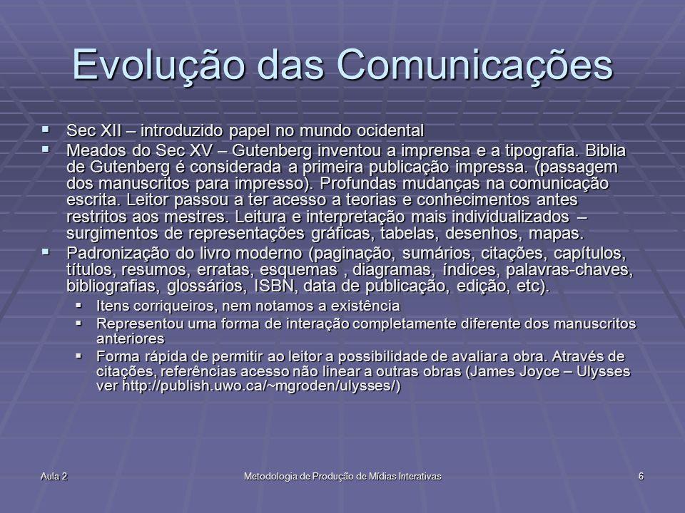 Aula 2Metodologia de Produção de Mídias Interativas6 Evolução das Comunicações Sec XII – introduzido papel no mundo ocidental Sec XII – introduzido pa