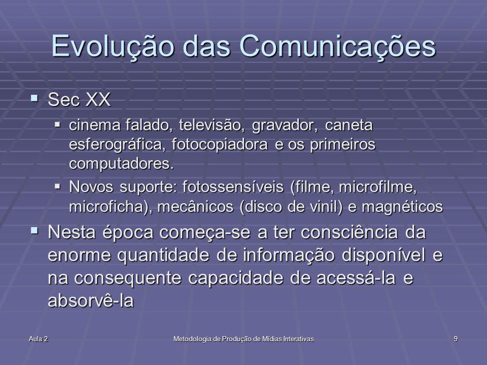 Aula 2Metodologia de Produção de Mídias Interativas9 Evolução das Comunicações Sec XX Sec XX cinema falado, televisão, gravador, caneta esferográfica,