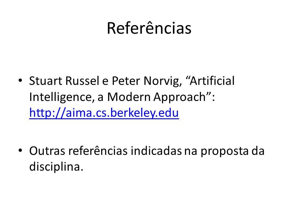Referências Stuart Russel e Peter Norvig, Artificial Intelligence, a Modern Approach: http://aima.cs.berkeley.edu http://aima.cs.berkeley.edu Outras r