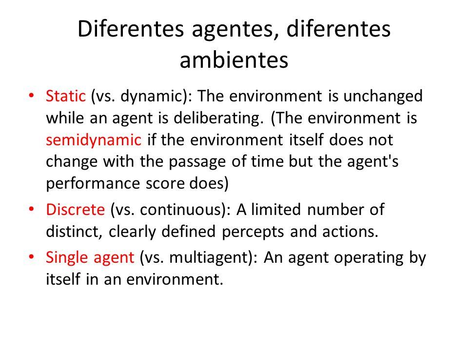 Diferentes agentes, diferentes ambientes Static (vs.
