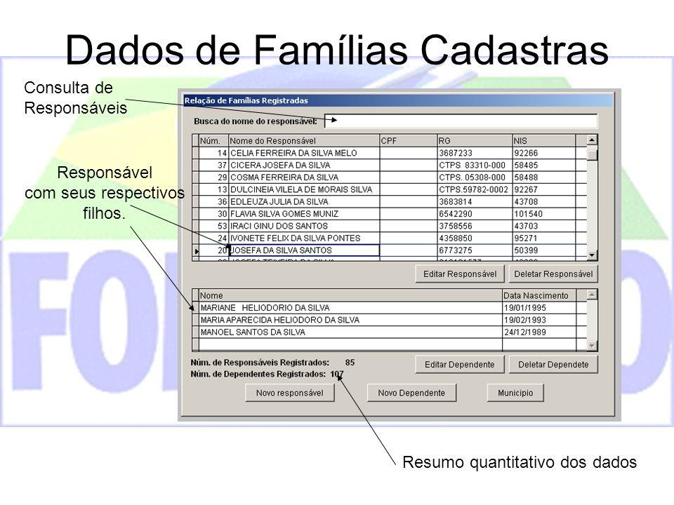 Dados de Famílias Cadastras Resumo quantitativo dos dados Responsável com seus respectivos filhos. Consulta de Responsáveis