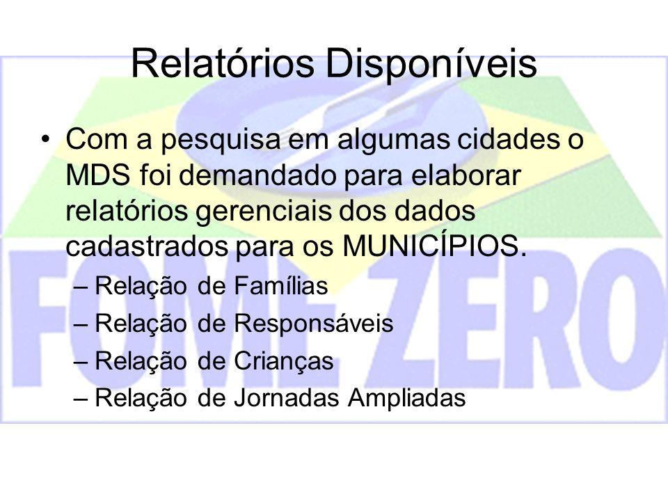 Relatórios Disponíveis Com a pesquisa em algumas cidades o MDS foi demandado para elaborar relatórios gerenciais dos dados cadastrados para os MUNICÍP