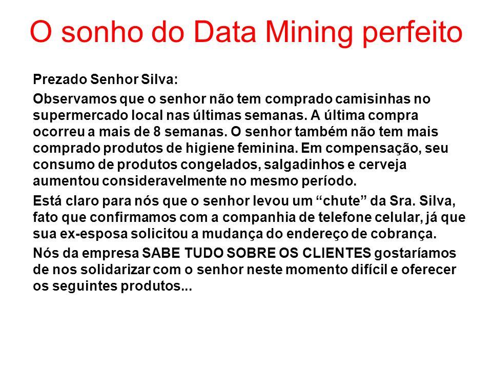O sonho do Data Mining perfeito Prezado Senhor Silva: Observamos que o senhor não tem comprado camisinhas no supermercado local nas últimas semanas. A