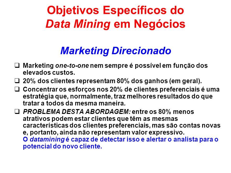 Objetivos Específicos do Data Mining em Negócios Marketing Direcionado Marketing one-to-one nem sempre é possível em função dos elevados custos. 20% d