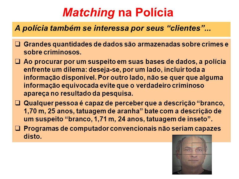Matching na Polícia Grandes quantidades de dados são armazenadas sobre crimes e sobre criminosos. Ao procurar por um suspeito em suas bases de dados,
