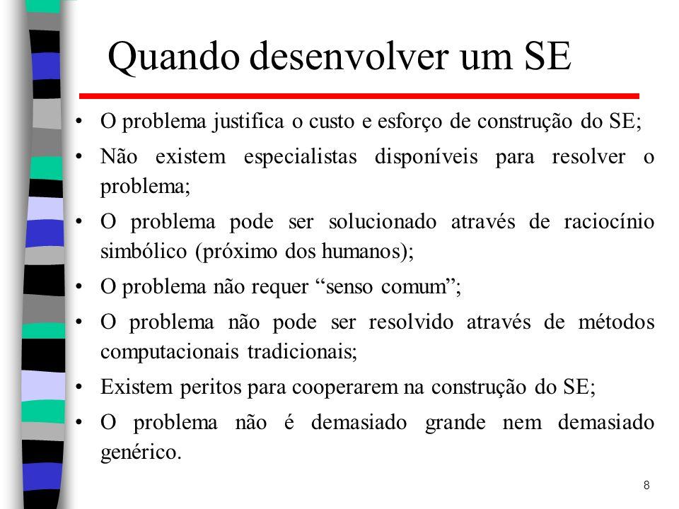 8 Quando desenvolver um SE O problema justifica o custo e esforço de construção do SE; Não existem especialistas disponíveis para resolver o problema;