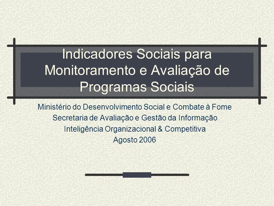 Indicadores Sociais para Monitoramento e Avaliação de Programas Sociais Ministério do Desenvolvimento Social e Combate à Fome Secretaria de Avaliação