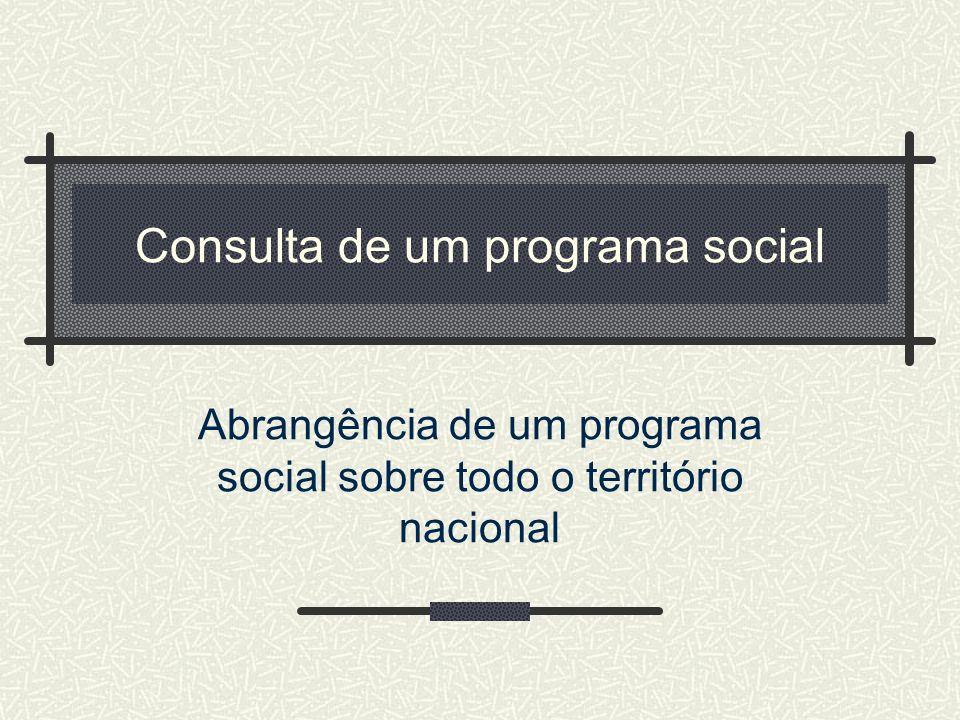 Consulta de um programa social Abrangência de um programa social sobre todo o território nacional