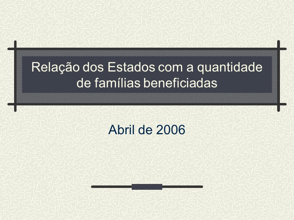Relação dos Estados com a quantidade de famílias beneficiadas Abril de 2006