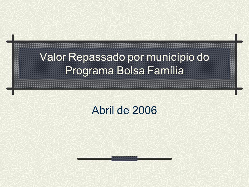 Valor Repassado por município do Programa Bolsa Família Abril de 2006