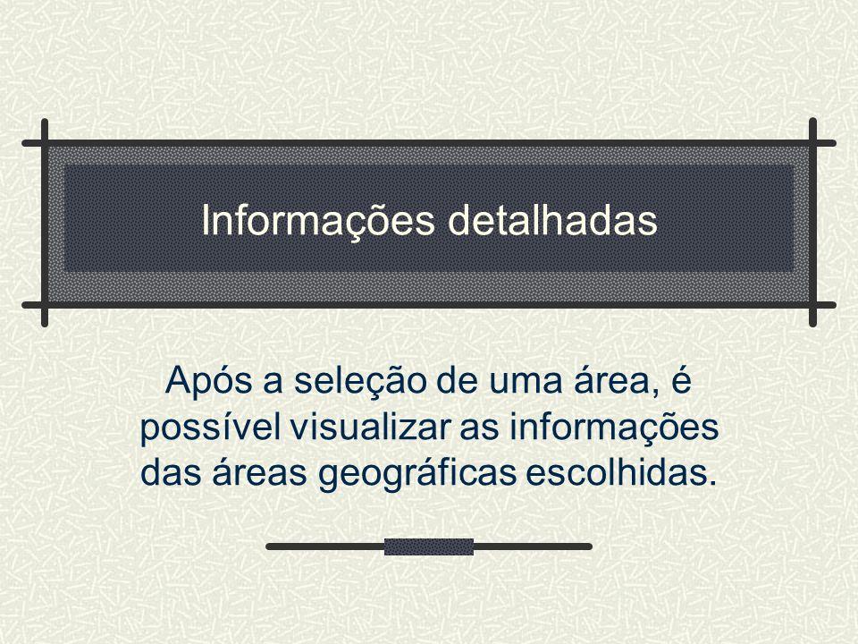 Informações detalhadas Após a seleção de uma área, é possível visualizar as informações das áreas geográficas escolhidas.