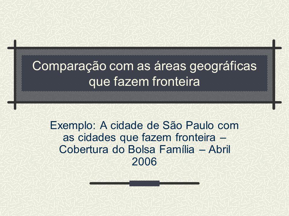 Comparação com as áreas geográficas que fazem fronteira Exemplo: A cidade de São Paulo com as cidades que fazem fronteira – Cobertura do Bolsa Família