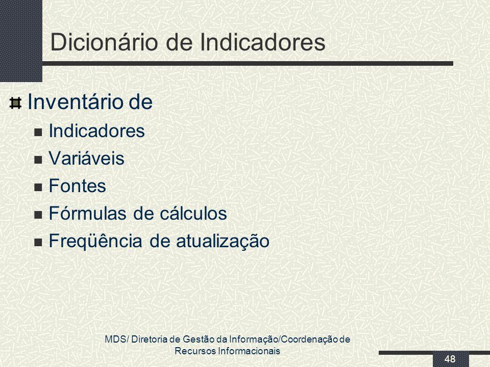 MDS/ Diretoria de Gestão da Informação/Coordenação de Recursos Informacionais 48 Dicionário de Indicadores Inventário de Indicadores Variáveis Fontes