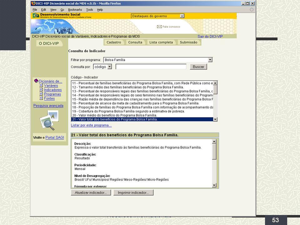 MDS/ Diretoria de Gestão da Informação/Coordenação de Recursos Informacionais 53