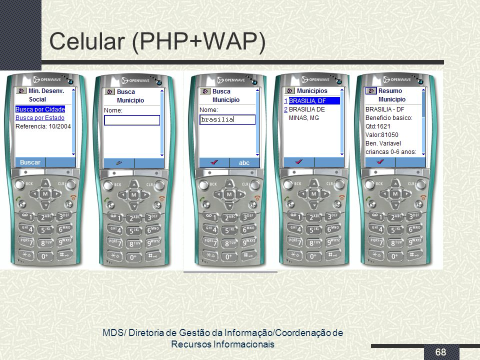 MDS/ Diretoria de Gestão da Informação/Coordenação de Recursos Informacionais 68 Celular (PHP+WAP)