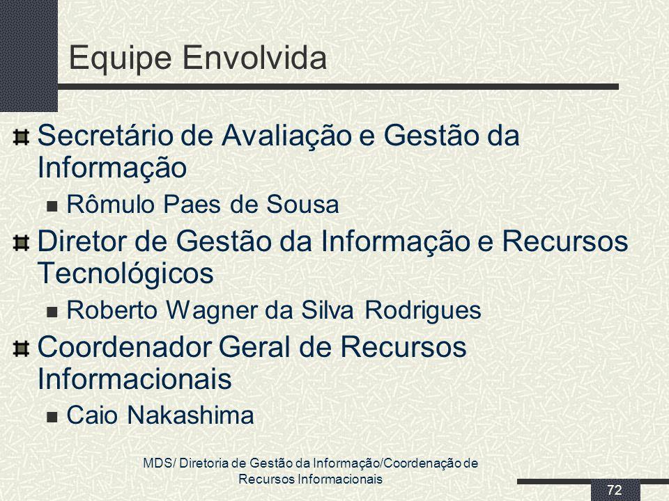 MDS/ Diretoria de Gestão da Informação/Coordenação de Recursos Informacionais 72 Equipe Envolvida Secretário de Avaliação e Gestão da Informação Rômul