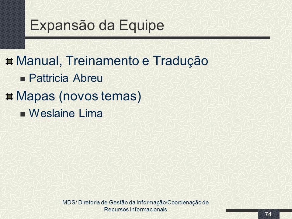 MDS/ Diretoria de Gestão da Informação/Coordenação de Recursos Informacionais 74 Expansão da Equipe Manual, Treinamento e Tradução Pattricia Abreu Map
