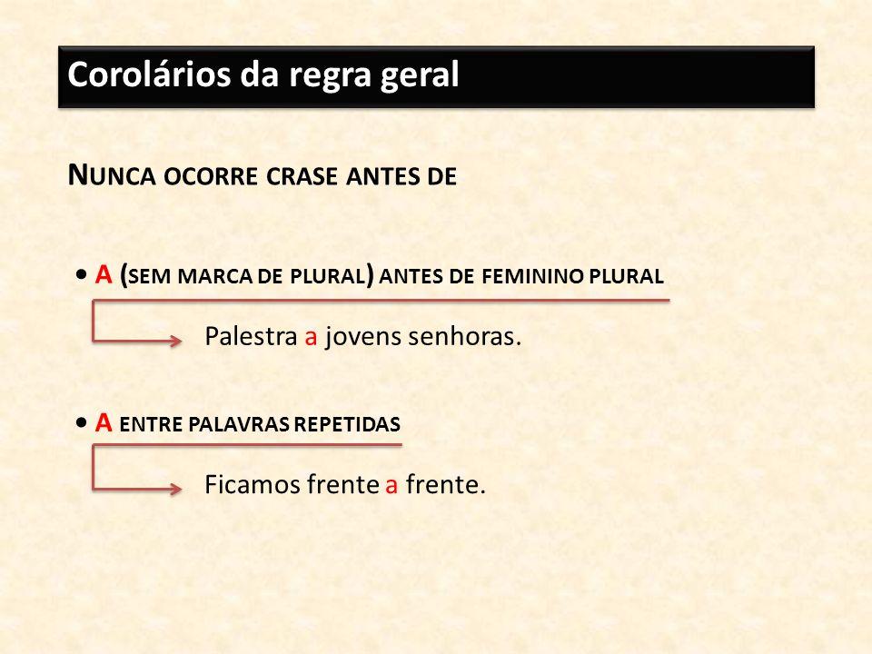 Corolários da regra geral N UNCA OCORRE CRASE ANTES DE A ( SEM MARCA DE PLURAL ) ANTES DE FEMININO PLURAL Palestra a jovens senhoras. A ENTRE PALAVRAS