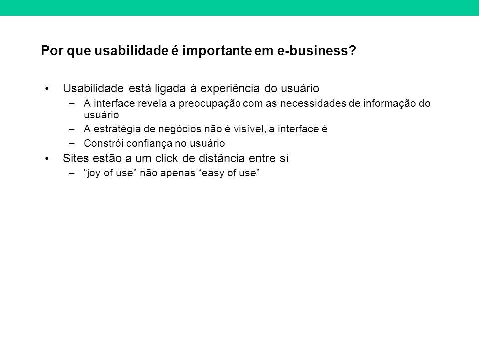 Por que usabilidade é importante em e-business? Usabilidade está ligada à experiência do usuário –A interface revela a preocupação com as necessidades
