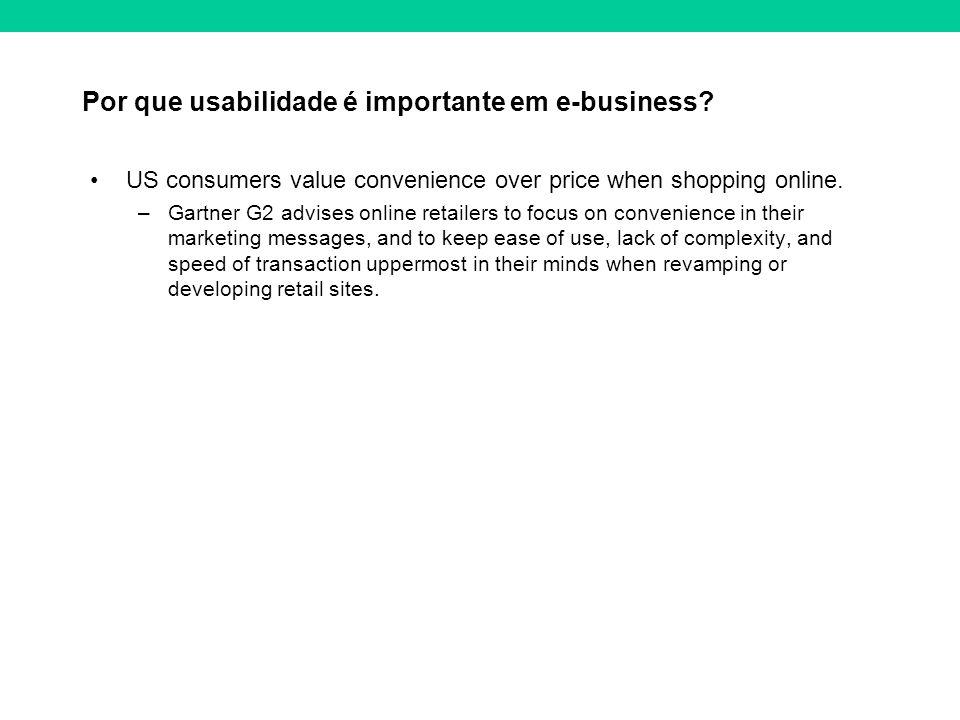 Por que usabilidade é importante em e-business? US consumers value convenience over price when shopping online. –Gartner G2 advises online retailers t